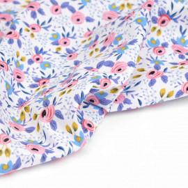 Tissu coton blanc à motif botanique rose, bleu et moutarde | pretty Mercerie | mercerie en ligne