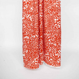 Tissu viscose spicy orange à motif imprimé animal blanc cassé   pretty mercerie   mercerie en ligne