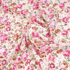 Tissu coton écru à motif champ de pivoine rose, fuchsia et vert   pretty mercerie   mercerie en ligne