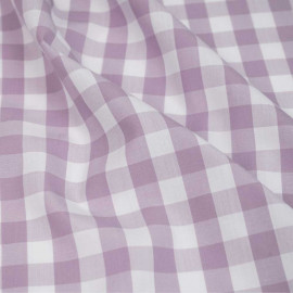 Tissu poly-viscose bambou blanc à motif tissé vichy mauve | Pretty Mercerie | mercerie en ligne