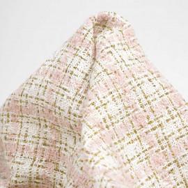 Tissu tweed blanc cassé à motif carreaux rose pastel et fil lurex or   pretty mercerie   mercerie en ligne