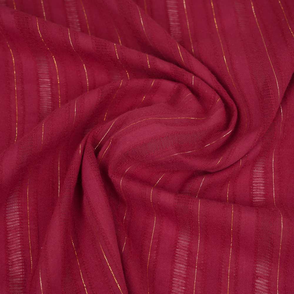 Tissu coton crimson à motif lignes brodées et fil lurex doré | pretty mercerie | mercerie en ligne