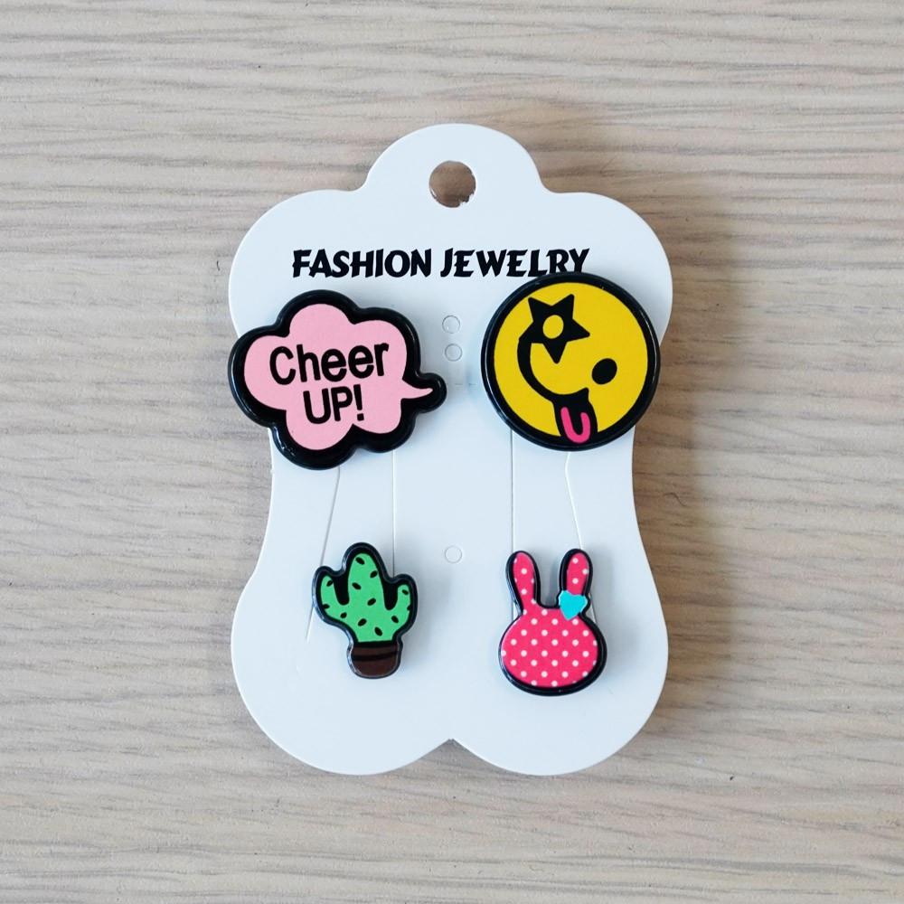 Pins Cheer up & Smiley & Cactus & Lapin - pretty mercerie - customisation - mercerie en ligne - mercerie pas cher