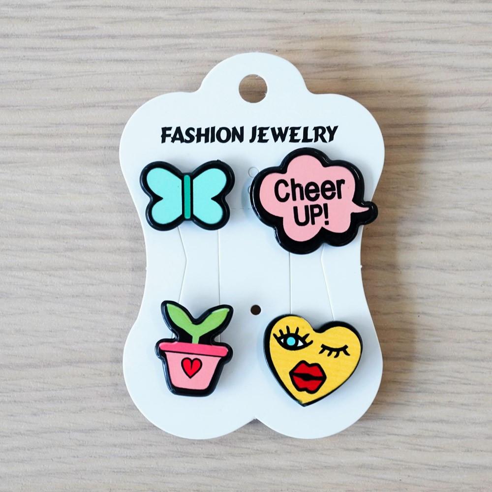 Pins Papillon & Cheer up & Flower & Coeur - pretty mercerie - customisation - mercerie en ligne - mercerie pas cher