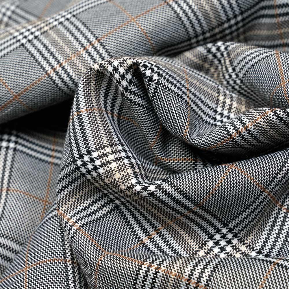 Tissu Prince de Galles noir et blanc et muscade - pretty mercerie - mercerie en ligne