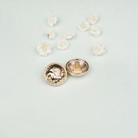 Bouton métal doré à motif pégase 18 mm - mercerie en ligne - pretty mercerie