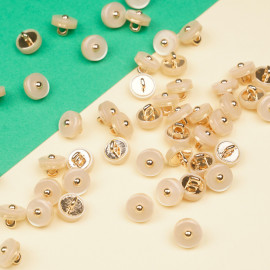 Bouton métal or rose et polyester effet nacré 9 mm  - pretty mercerie - mercerie en ligne