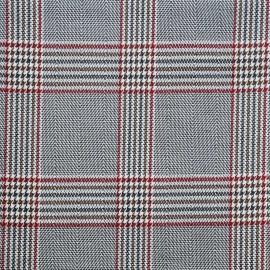 Tissu Prince de Galles noir et blanc et rouge et noisette - pretty mercerie - mercerie en ligne